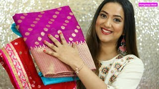 सस्ती Online साड़ी  शॉपिंग ft. Elanic | Affordable Online Saree Haul | Perkymegs Hindi