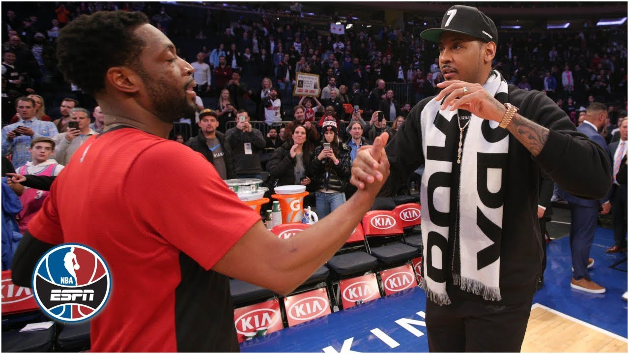 new product 8abfd fa0db Dwyane Wade embraces Carmelo Anthony in final game at MSG   NBA Highlights