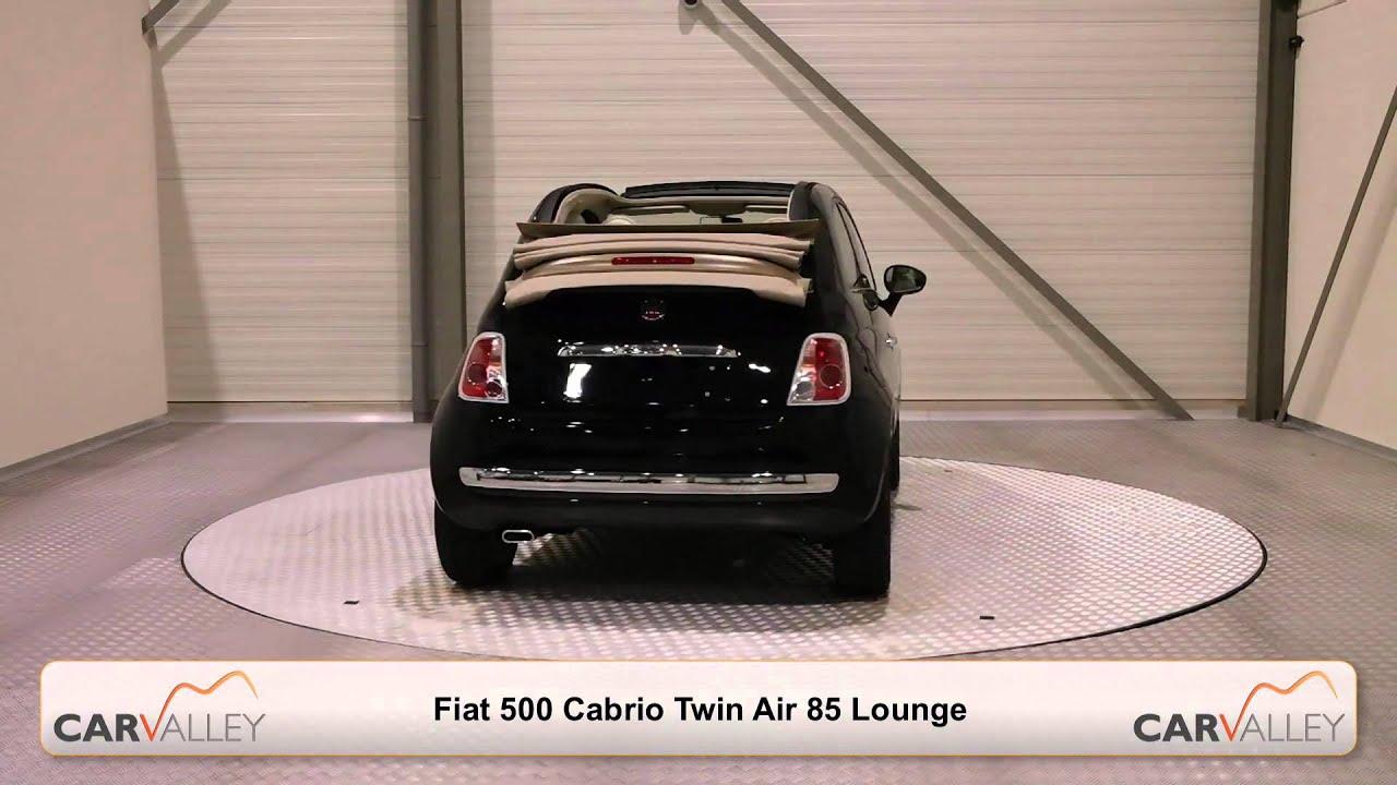 nieuwe fiat 500 cabrio twin air 85 lounge zwart beige dak online kopen 1080p youtube. Black Bedroom Furniture Sets. Home Design Ideas