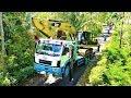 Indonesian Trucker Heavy Haulage CAT 320D Excavator Transport By Self Loader Truck