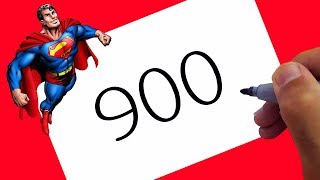 Superheroes ! How To Draw Superman From Numbers 900 For Kids | Art for Kids