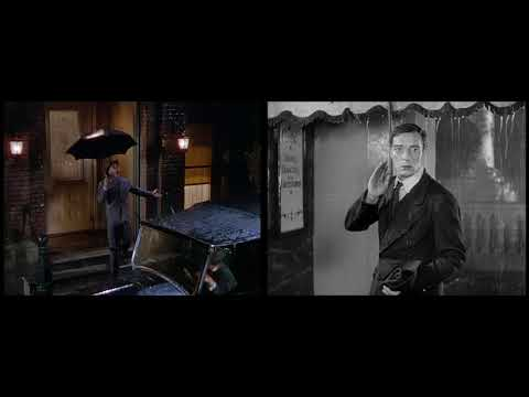 Buster Keaton and Gene Kelly in parallel scenes