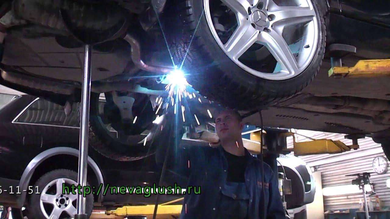 установка насадок на  выхлопные  трубы   Mercedes Benz 220