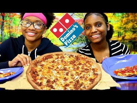 DOMINOES PIZZA MUKBANG! BACON & PEPPERONI PIZZA!