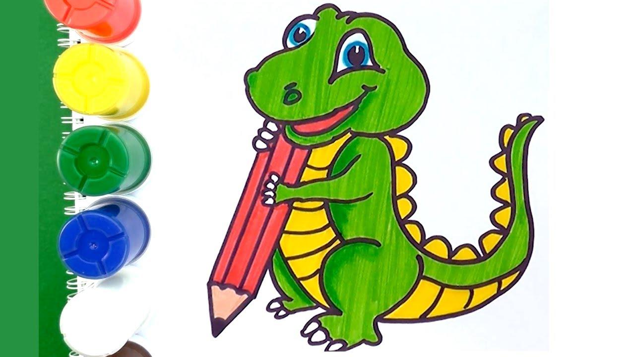 Como Dibujar y colorear Dinosaurio