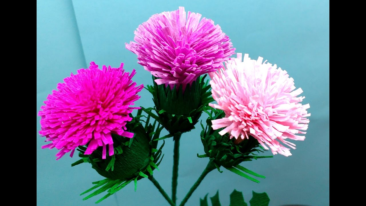 How To Make Easiest Paper Flowers Thistle Cirsium Vulgare Flower
