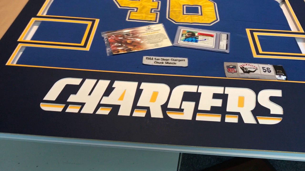 b759685bb Professionally Framing a San Diego Chargers Throwback Jersey. Jacquez Art  and Custom Picture Framing