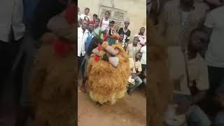 Masquerade from Amoli in Awgu L.G.A in Enugu state of Nigerian dancing @Burial ceremony