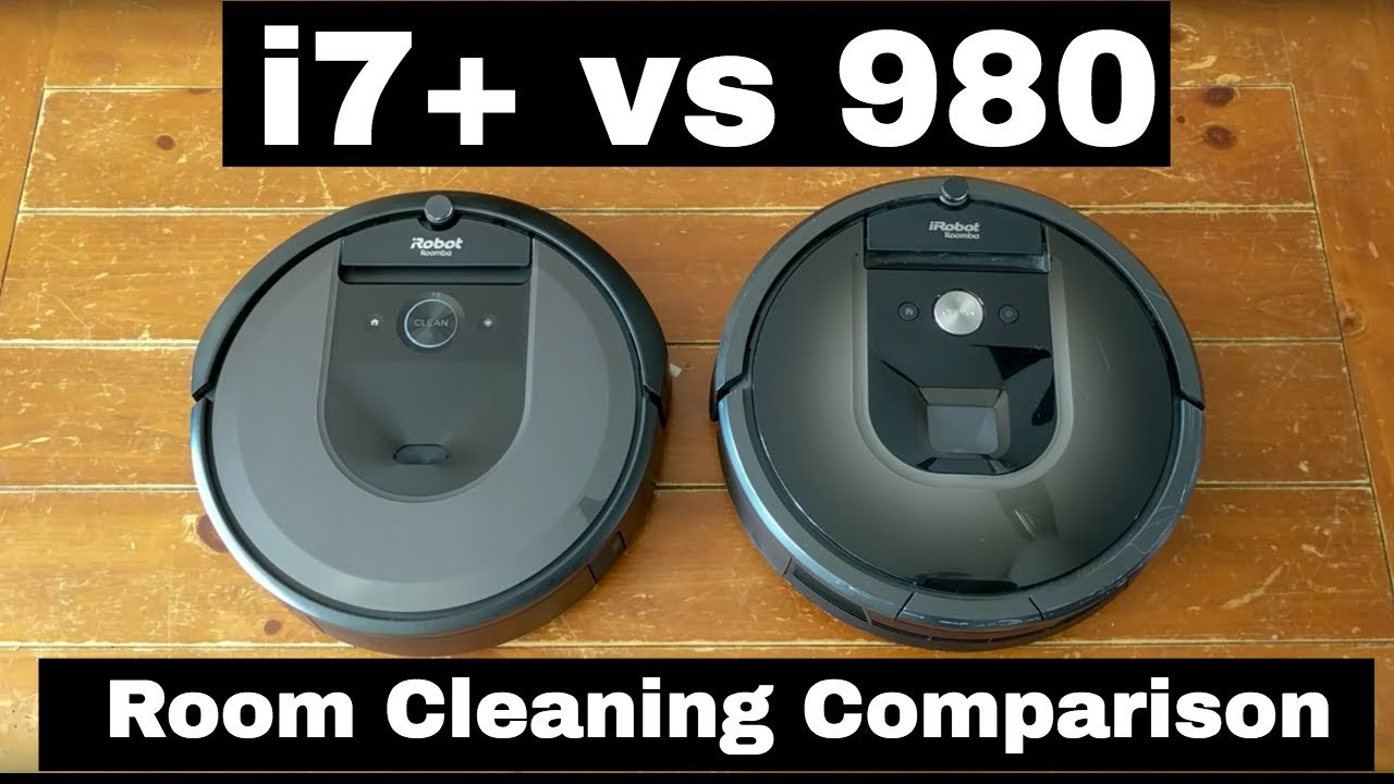 iRobot Roomba i7+ vs 980 robot vacuum room cleaning