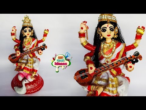 Saraswati Ma Making From Newspaper | DIY | Doll Craft | Creative Craft By Arush Diy Craft Ideas