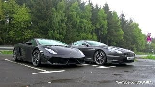 Aston Martin DBS + Lamborghini Gallardo LP570-4 Spyder Performante - Lovely Sounds!