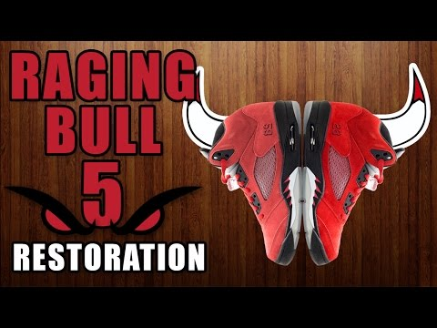 Restorations with Vick - Raging Bulls 5 - Suede Redye, Midsole Repaint, Deep cleaning