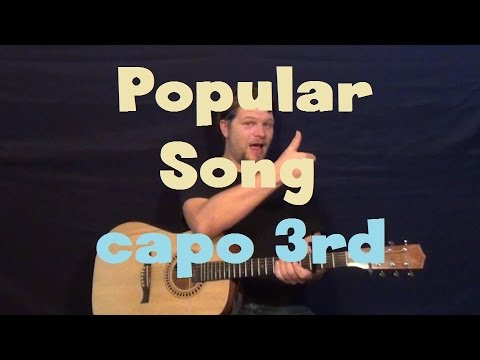 Popular Song (Mika) Easy Strum Guitar Lesson Capo 3rd Fret How to Play