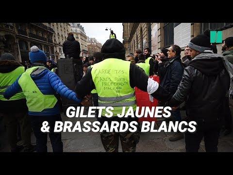 Les gilets jaunes à Paris encadrés par un service d'ordre pour la première fois