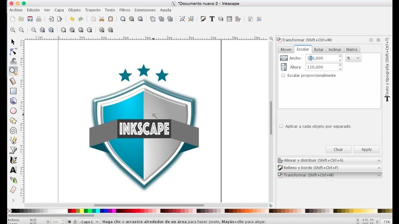 Inkscape 30 como dise ar un escudo youtube for Software para disenar muebles gratis