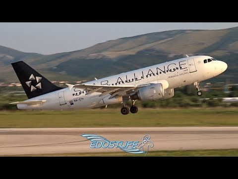 Star Alliance Croatia Airlines - Airbus A319 9A-CTI - Apron View Takeoff from Split Airport LDSP/SPU