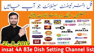 Insat 4a Dish Setting and Channel list 2019 | Best Entertainment Satellite 2019