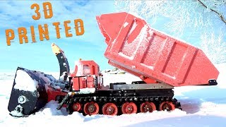 3D Printed Radio Controlled RED SNOW BLOWER & TRACKED MACHINE - Robots Doing Work | RC ADVENTURES
