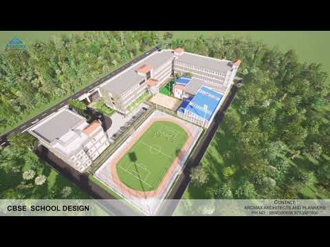 Modern School Building Architecture Design and School Layout Plan in Raipur India