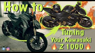 How To Tuning KAWASAKI Z1000 THE BEAST Black And Gold Rider Reneosb