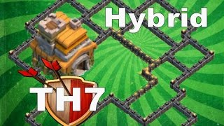 Clash of Clans - NEW TH7 Hybrid Base Farming/Pushing With Air Sweeper Speed Build