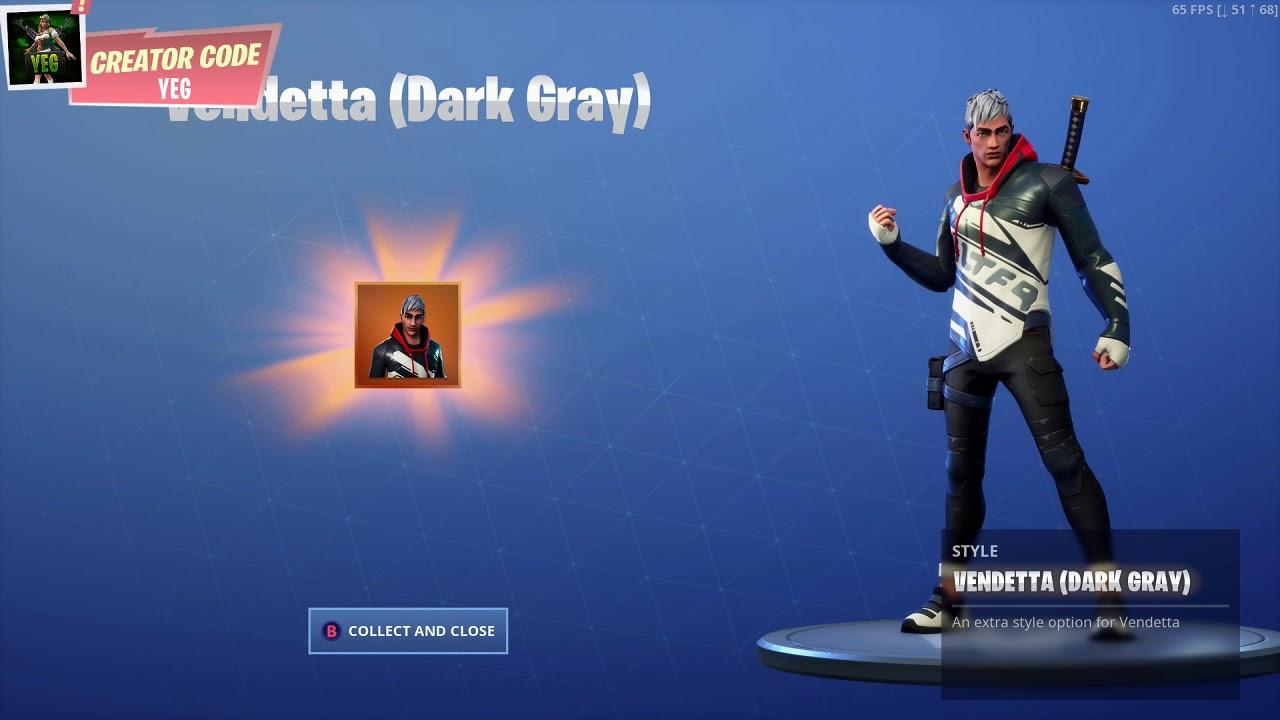 New Unlocking Vendetta Dark Gray Outfit Style On Fortnite Battle