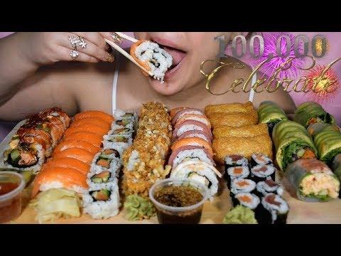 ASMR SUSHI & SPRING SALAD ROLLS EATING SOUNDS PINK ASMR