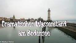Dramatischer Wasserstand Bodensee Lindau-Insel November 2018 4K