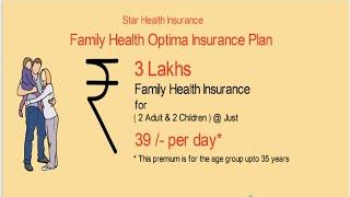 Family health optima-at just Rs 39/- per day-Star health insurance plan in hindi-Premium chart