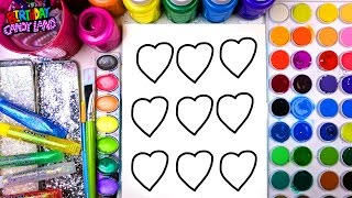 Coloring Page of Valentines Day Hearts to Color with Watercolor Glitter for Children to Learn Colors