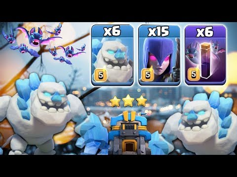 6 Ice Golem + 15 Witch + 6 Bat Spell = Try New TH12 War 3star Attack | Clash Of Clans