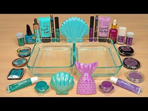 Aqua Vs Purple – Mixing Makeup Eyeshadow Into Slime | ASMR Satisfying Slime Video 73