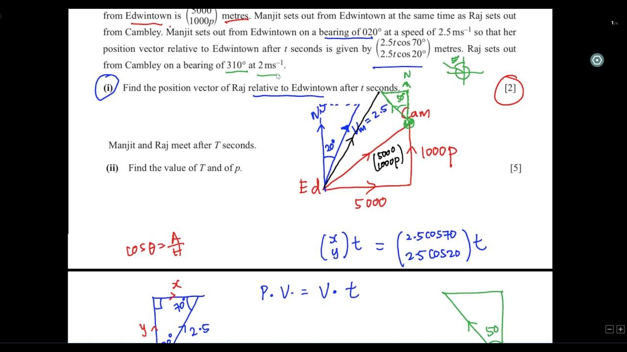 IGCSE - Add Math - Relative Velocity (2016-O/N)