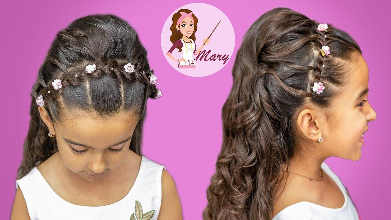 Peinado f cil con cabello suelto para fiesta youtube - Peinados de fiesta con rizos ...