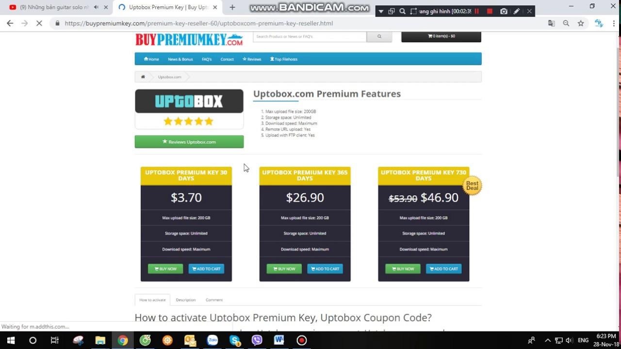 How to buy Uptobox premium key, premium account via paypal at  Buypremiumkey com