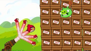 Angry Birds Cannon Birds 1 - SHOOTING 100 BIRDS TO PIGGIES INSIDE 100 TNTS!