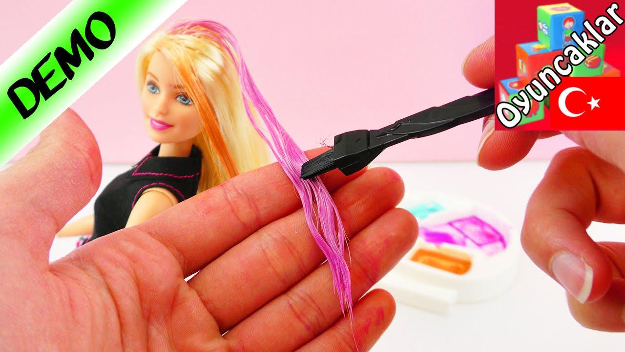 Barbie Mix N Color Boyama Seti Ile Bebeğin Saçlarını Boyuyoruz