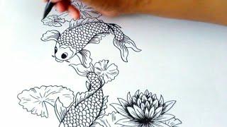 Unduh 42 Gambar Sketsa Ikan Mas Koi Terbaru