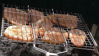 Отбивной шашлык на мангале Шашлык из отбивной свинины