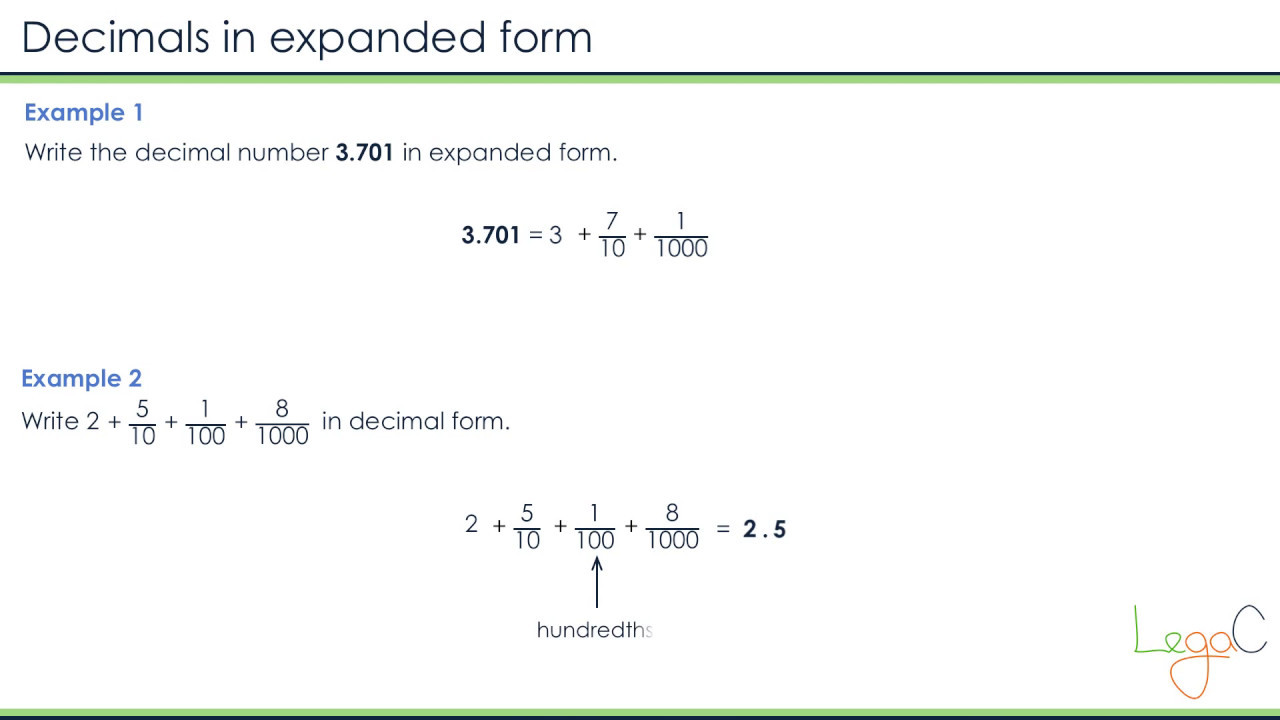 worksheet Expanded Form With Decimals decimals expanded form youtube form