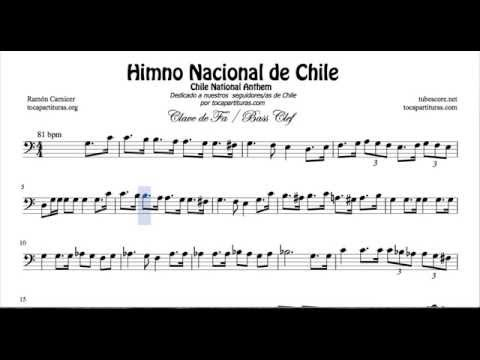 Chile National Anthem Sheet Music for Trombone Cello Bassoon Tube and Euphonium on bass clef