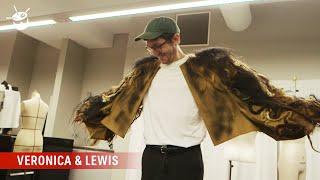Lewis wears the human hair jacket