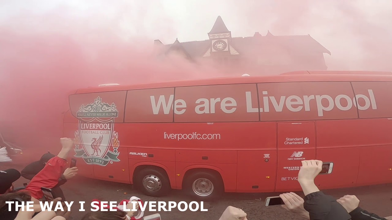 Liverpool Fc Team Bus Arriving at Anfield 4/4/2018 - YouTube