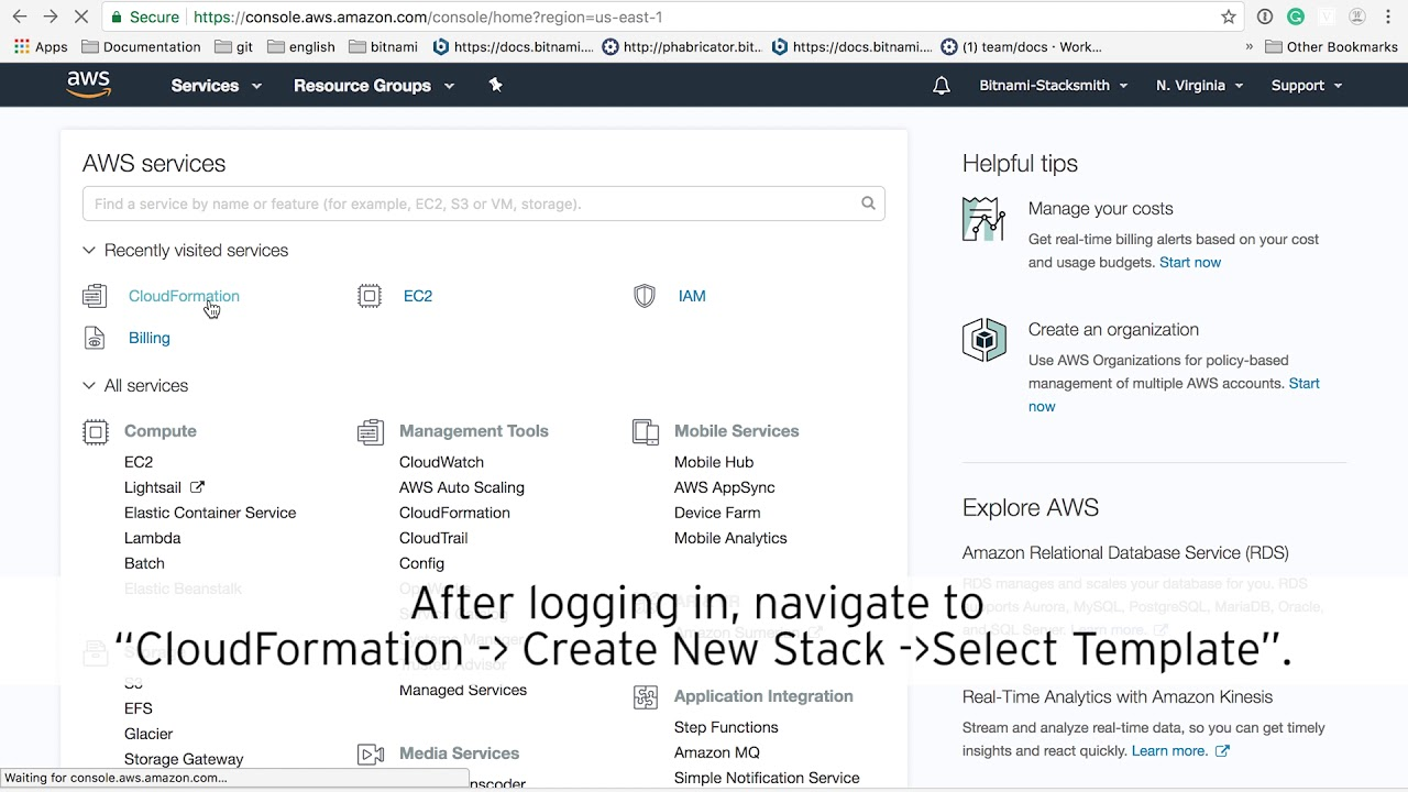 Configuring your AWS account to work with Bitnami Stacksmith