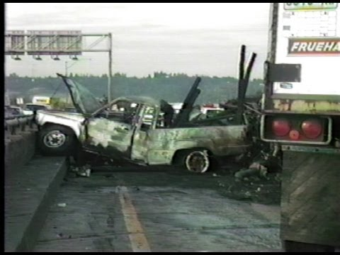 Semi Vs Pickup Vehicles Burned I 5 Puyallup River Bridge