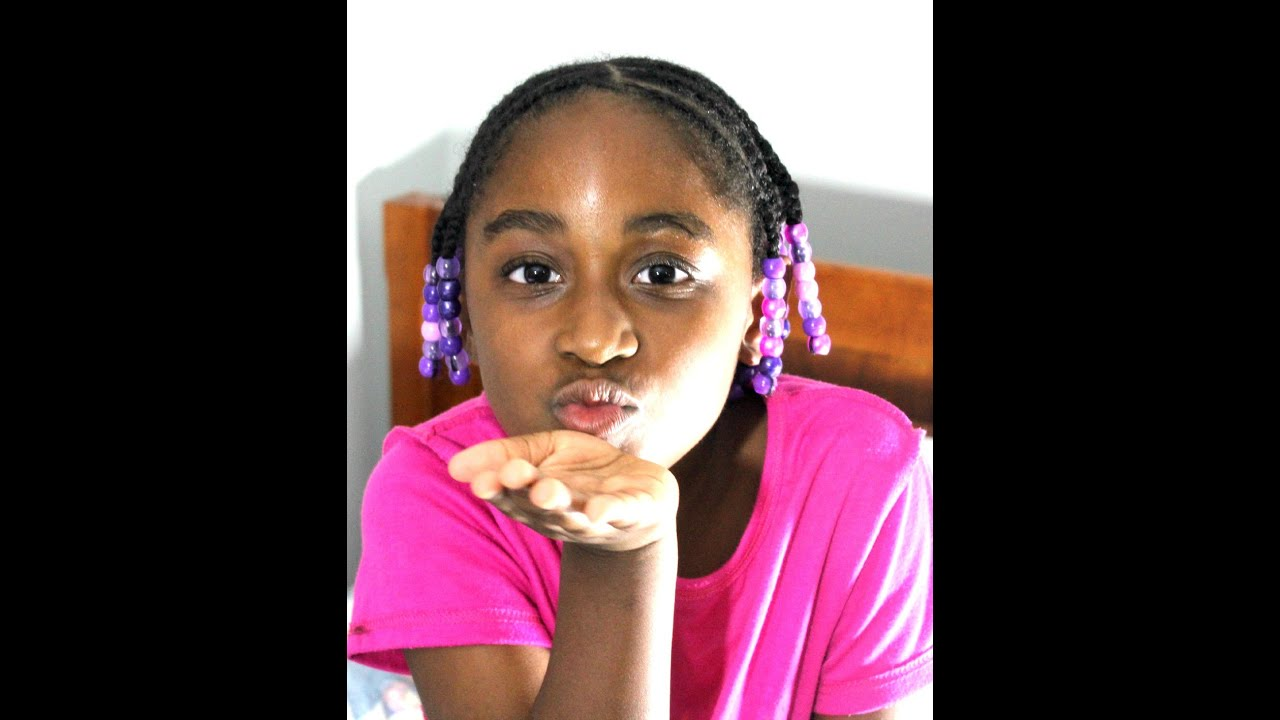 kids hairstyle easy braids with beads (watch me work) - youtube