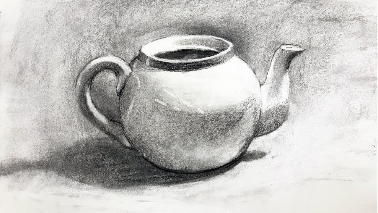 Still life 101 drawing from observation of a teapot in charcoal