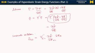08.06. Examples of hyperelastic strain energy density functions