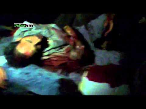 هام جدا  مجزرة درعا البلد ولحظة سقوط الصاروخ الثاني أثناء أسعاف الجرحى ونقل الشهداء+18