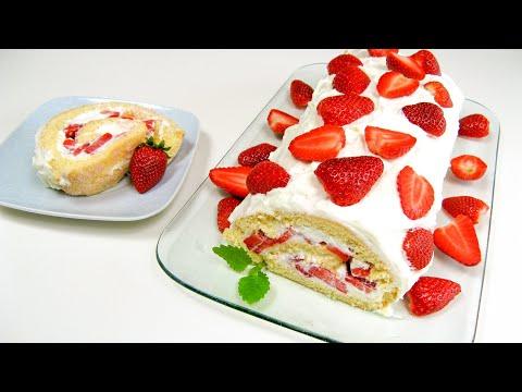 Erdbeer-Biskuit-Rolle